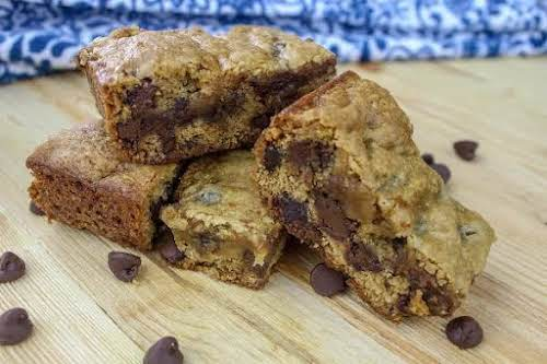 "Honey Peanut Butter Banana Chocolate Chip Bars""These are a new creation that..."