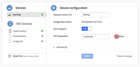 Find Wi-Fi password in Google Fiber account
