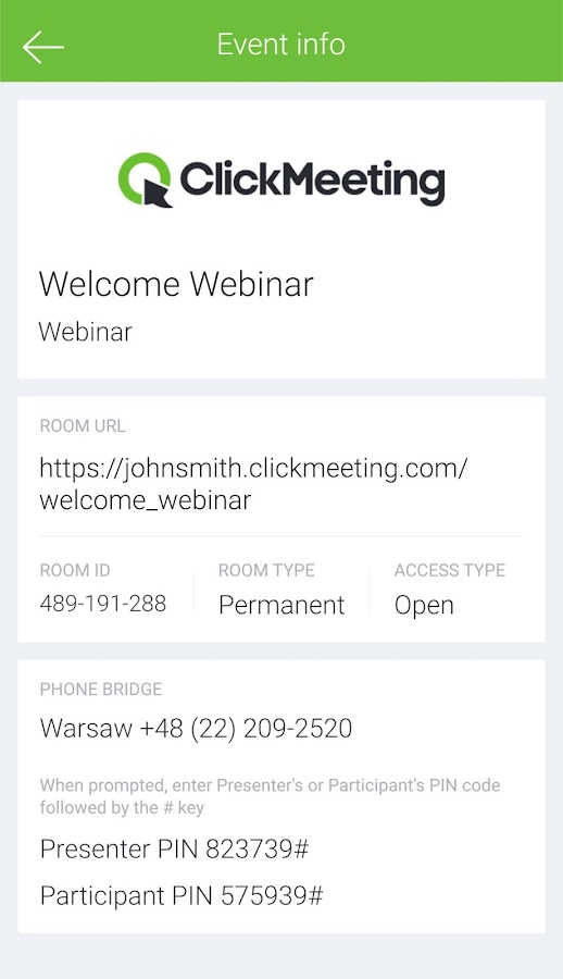 ClickMeeting Webinars- screenshot