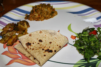 Photo: Chapati and two sabzi, a salad; gorgeous supper is ready, all made at home. 31st October updated -http://jp.asksiddhi.in/daily_detail.php?id=348