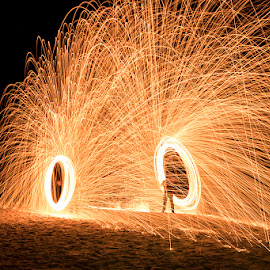 Fire Spinning by Mel Stratton - Abstract Light Painting ( orange, steel, wool, sparks, fire,  )