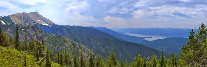 Photo: Great Northern with Hungry Horse Reservoir below