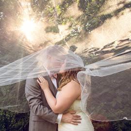 Hide with Me by Kate Gansneder - Wedding Bride & Groom ( kiss, wedding, couple, veil, bride, groom )