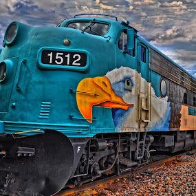 Verde Canyon Railroad by Stephen Botel - Transportation Trains ( clouds, eagle, track, mural, sky, locomotive, engine no. 1512, arizona, verde canyon railroad locomotive., train, clarkdale, snow plow, railroad track )