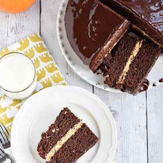 Chocolate Cake with Pumpkin Filling.