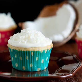 Coconut Cupcakes with Coconut Frosting.