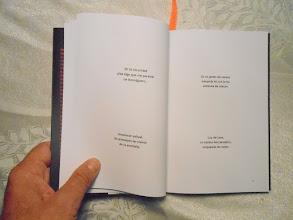 Photo: El haiku es un género que, a pesar de ser tan minimalista,necesita de mucho espacio alrededor para su lectura. Por ello decidí colocar sólo dos por página, algo  muy poco común entre las ediciones de este tipo.    No sé si se pueden leer los haikus aquí, por eso citaré el que está en la parte superior izquierda:   En la oscuridad  pisé algo que me pareció un hormiguero.