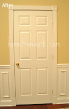 Photo: (After) door with fluted molding, rosetts, and base flat plinth blocks Friend job
