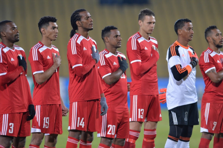 Seychelles team during the COSAFA Cup match between Seychelles and Mozambique at Royal Bafokeng Stadium on June 28, 2017 in Rustenburg, South Africa.