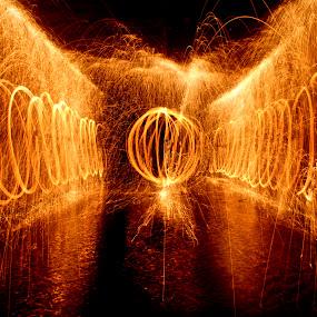 Steel Wool by Jordan Wangsgard - Abstract Fine Art ( walls, light painting, steel wool, orb, nightography, long exposure, burn, spark, bounce, wate, fire )
