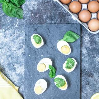 Parmesan Pesto Over Eggs.