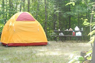 Photo: Tent site all set up at Big Deer State Park by Nicole Olmstead