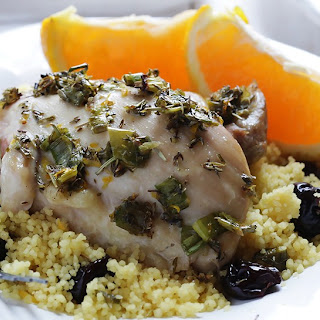 Thyme Roasted Chicken with Cranberry Orange Couscous.