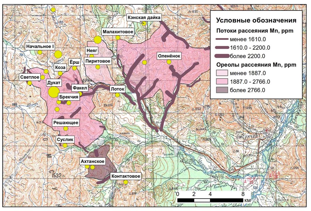 Линейные аномалии и площадные ореолы потоков рассеяния марганца в пределах Дукатского рудного узла