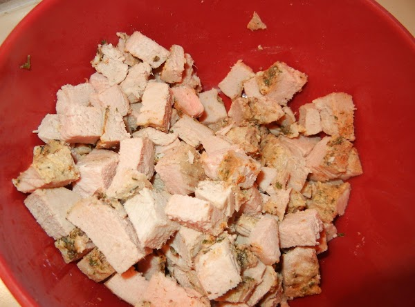 Chop left over meat into cubes, I used pork loin.