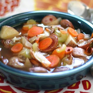 Applewood Smoked Sausage Stew with Roasted Potatoes.