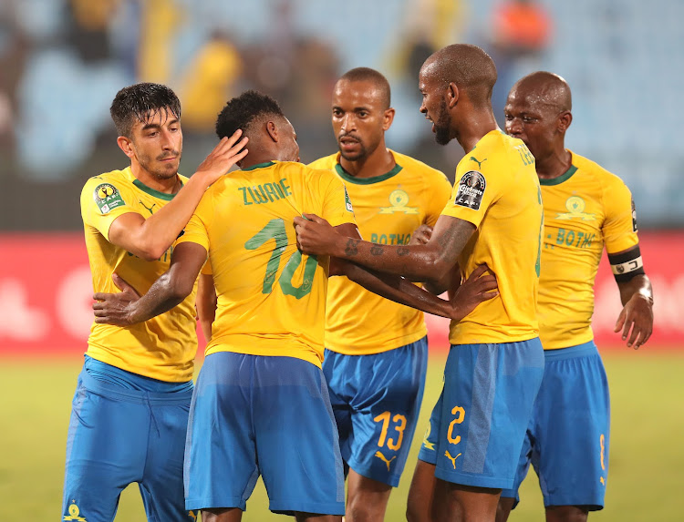Emiliano Tade of Mamelodi Sundowns celebrates goal with teammates during the 2019 TOTAL CAF Champions League match between Mamelodi Sundowns and Asec Mimosas at the Loftus Versveld Stadium, Pretoria on the 01 February 2019.