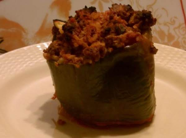 Great Summer Comfort Food With A Twist - Stuffed Peppers With Zucchini! (note: No Cheese In This Pic, But Just As Yummy!)