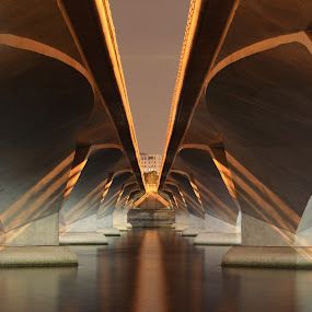 Under bridge by Beng Lim - Buildings & Architecture Bridges & Suspended Structures ( abstract, water, reflection, pattern, modern structure, future, under, architecture, bridge, city )