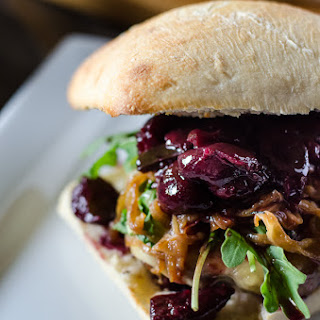 Cherry Cabernet Burger with Caramelized Onions.