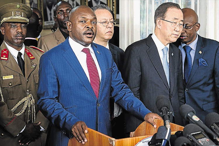Burundi's President Pierre Nkurunziza, left, and UN secretary-general Ban Ki-moon. The UN has accused Nkurunziza of fuelling crimes against with repeated calls to hatred and violence.