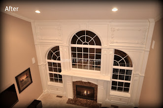 Photo: Family room Fireplace mantle with window trim Easton, PA
