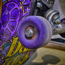 Artistic Board On Wheels by Marco Bertamé - Artistic Objects Other Objects ( wheel, purple, yellow, skateboard )