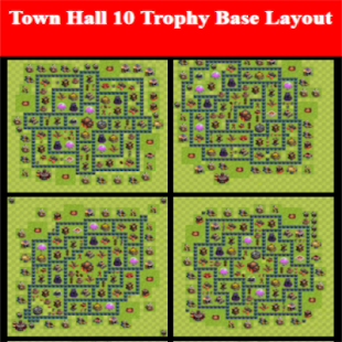Town Hall 10 Trophy Base Layout - náhled