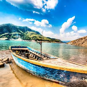 Missing Boatman by Shikhar Sharma - Transportation Boats ( outdoor hdr, punjab, solitude, lake, wooden boat )