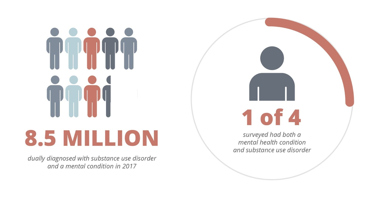 8.5  million dually diagnosed with substance use disorder and a mental condition in 2017. 1 of 4 surveyed had both a mental health condition and a substance use disorder.