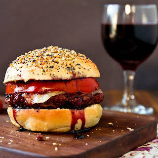 "Cabernet Burgers on ""Everything"" Buns."