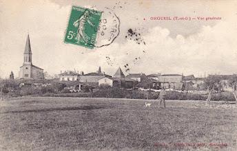 Photo: Orgueil (82) - Orgueil vu de Mondounas - Carte avec souhaits de bonne année 1917 postée le 30/12/1916 à destination de Melle Emma Séeliger à Villemur-sur-Tarn