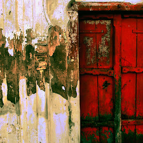 close door by Jhilam Deb - Novices Only Abstract ( red and white, kanpur, close door, door, heritage,  )