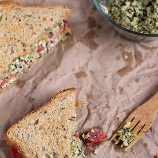 Vegan Shredded Tofu Pesto Sandwich.