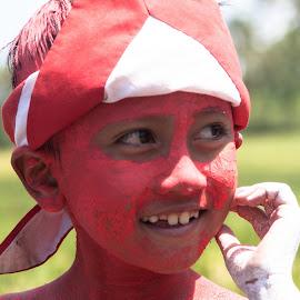 Happy by Bayu Aji - Babies & Children Child Portraits ( red, child portrait, texture, happy, smile,  )