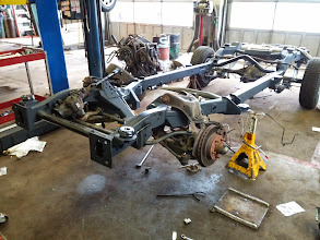 Photo: The same must now be done on the other side, following which, we will install the front sway bar, and the steering rack. Then it is time to put the tires back on, and the engine is ready to go back in.
