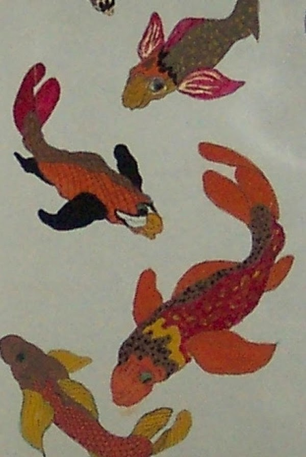 lightly pencil in some stylized fish, place where on the wall you want them,...