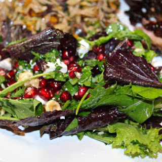 Pomegranate Fall Salad with Ricotta Salata & Hazelnuts