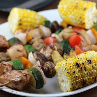 Grilled Oriental Chicken Kabobs recipe with grilled Corn on the Cob