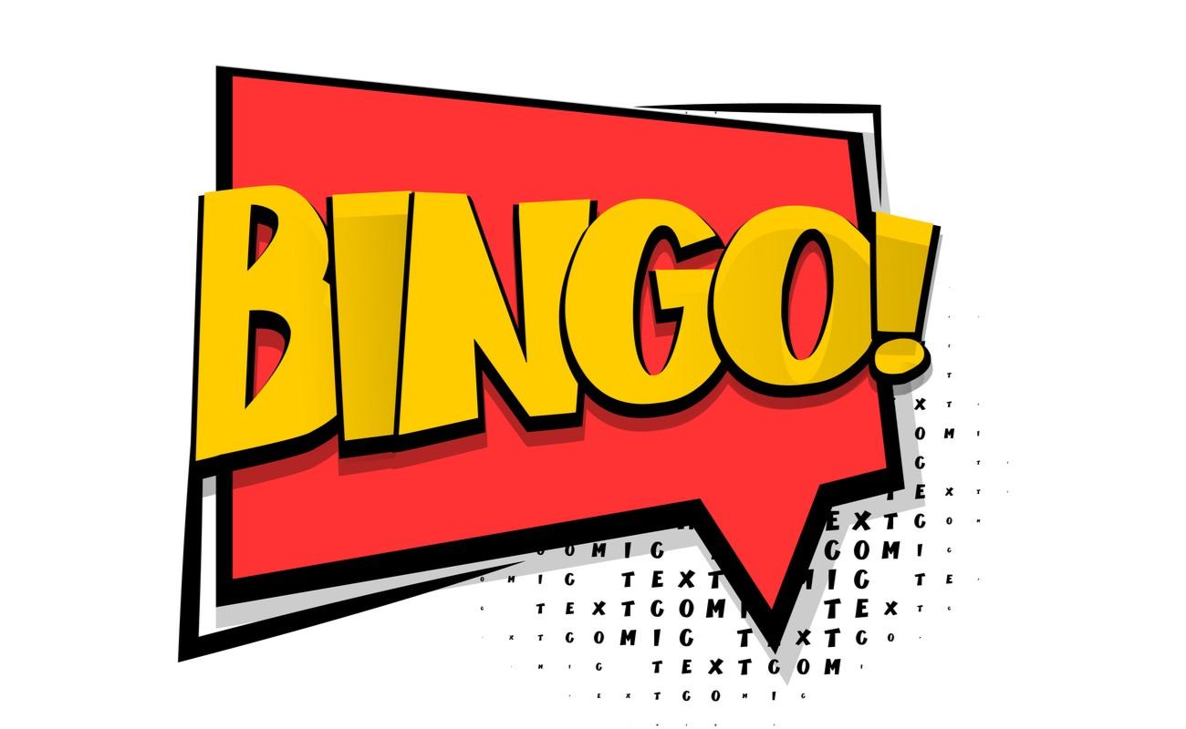 Bingo! Written in a red speech bubble