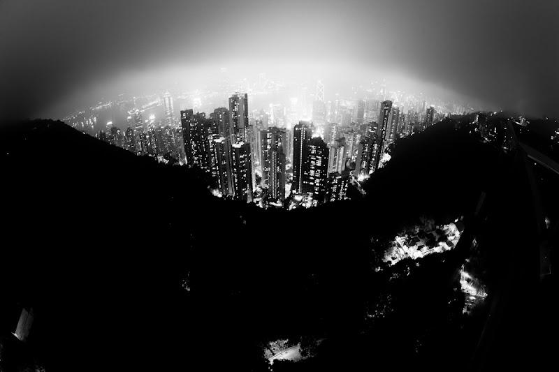 Photo: Darkness spreading at Victoria Peak