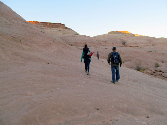 Walking across Navajo Sandstone domes