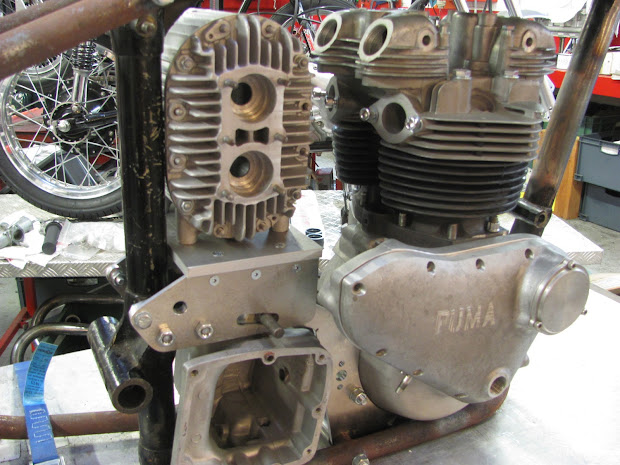 Right side of the blower, Puma crankcase and 750 Triumph head and cylinder.