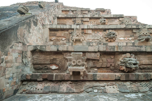 Detail of the facade of the Feathered Serpent Pyramid, Teotihuacan