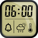 Alarm clock and weather forecast, stopwatch icon
