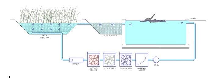 Esquema de una piscina natural totalmente tecnificada