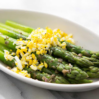 Asparagus Mimosa with Hard Boiled Eggs and Capers.