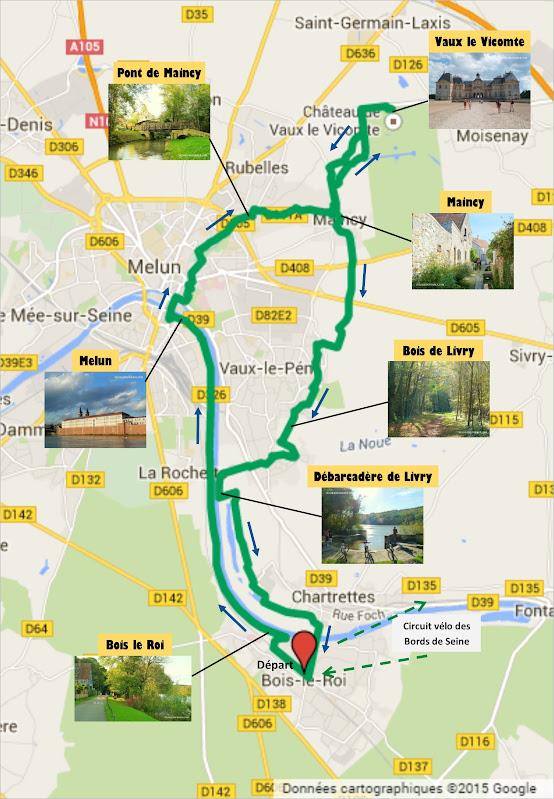 Tracé circuit balade à vélo de Bois le Roi vers Vaux-le-Vicomte par veloiledefrance.com