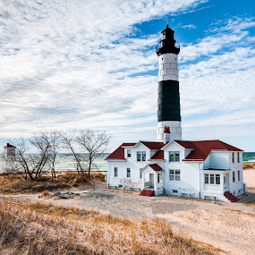 Big Sable Point Lighthouse #4 by Jebark Fineartphotography - Buildings & Architecture Public & Historical ( michigan, lake michigan, lighthouse, architectural, beach, historical, seascape, beacon )