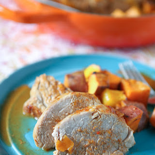 Maple Mustard Roasted Pork Tenderloin with Sweet Potatoes and Mango